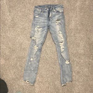 American eagle next level stretch destroyed jeans